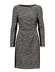 Two-Tone Knit Dress - BLACK/WHITE/BLACK
