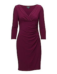 Surplice Jersey Dress - EXOTIC RUBY