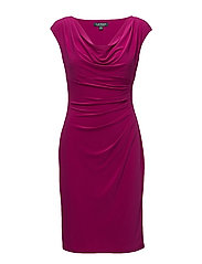 Stretch Jersey Cowlneck Dress - COASTAL FUCHSIA