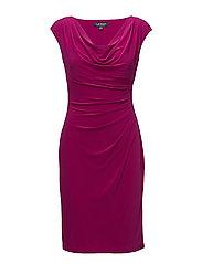 Stretch Jersey Cowlneck Dress - COASTAL FUCHSIA