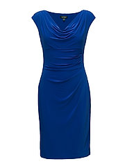 Stretch Jersey Cowlneck Dress - GALLERY BLUE