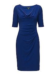 Cowlneck Jersey Dress - LAZULI