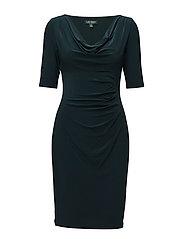 Cowlneck Jersey Dress - WOODLAND GREEN