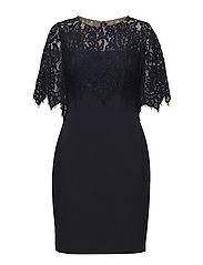 Lauren Ralph Lauren. Scalloped lace-overlay dress ...