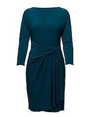 Stretch Jersey Boatneck Dress - FRENCH TEAL
