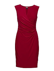 Keyhole Stretch Jersey Dress - BRIGHT ORCHID