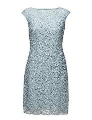 Lace Cap-Sleeve Dress - PALE BLUE MLTI