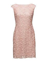 Lace Cap-Sleeve Dress - PALE PINK MULTI