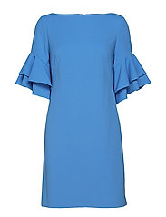 Ruffle-Sleeve Shift Dress - EOS BLUE