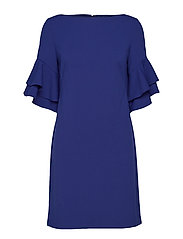Ruffle-Sleeve Shift Dress - PARISIAN BLUE