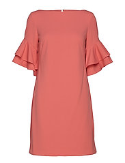 Ruffle-Sleeve Shift Dress - SUNSET ROSE