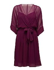 Georgette Surplice Dress - EXOTIC RUBY