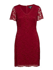 Scalloped Lace Dress - VIBRANT GARNET