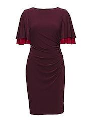 Flutter-Sleeve Jersey Dress - NEW POMEGRANATE/P