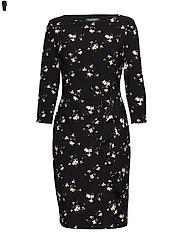 Ruffled Jersey Dress - BLACK/BLUSH/MULTI