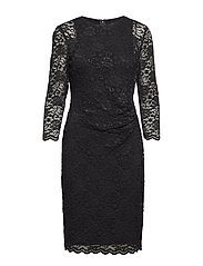 Lace Sheer-Sleeve Dress - BLACK