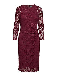 Lace Sheer-Sleeve Dress - NEW POMEGRANATE