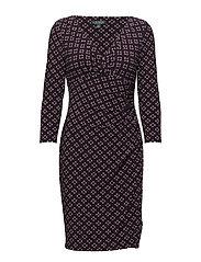 Print Surplice Jersey Dress - LH NAVY/FUCHSIA/M