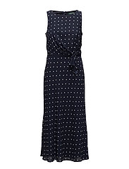 Polka-Dot Crepe Midi Dress - LH NAVY/COLONIAL