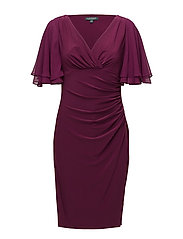 Flutter-Sleeve Georgette Dress - EXOTIC RUBY/EXOTI