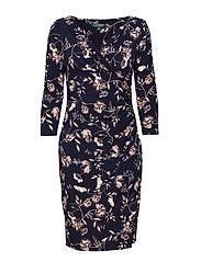 Floral Surplice Dress - LH NAVY/BLUSH/MUL