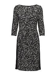 Print Stretch Jersey Dress - BLACK/GREY/MULTI