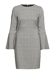 Glen Plaid Bell-Sleeve Dress - BLK/WHITE