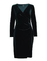 Velvet Surplice Dress - GREEN