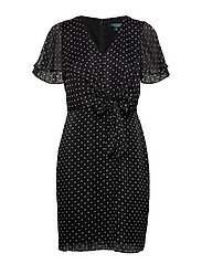 Knotted Print Jacquard Dress - BLACK/COLONIAL CR