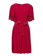 Jersey Flutter-Sleeve Dress - BRIGHT ORCHID
