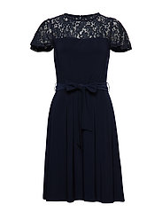 Belted Lace-Trim Dress - LIGHTHOUSE NAVY