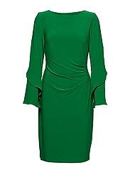Jersey Ruffle-Sleeve Dress - CAMBRIDGE GREEN