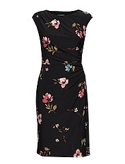 Ruched Jersey Dress - BLACK/PINK/MULTI