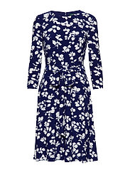 Floral Fit-and-Flare Dress - CANNES BLUE/IVORY