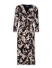 Floral Jersey Midi Dress - BLACK/PINK/MULTI