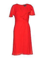 Ruffle-Trim Georgette Dress - SUMMER POPPY