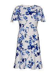 Floral Jacquard Dress - COLONIAL CREAM/BL