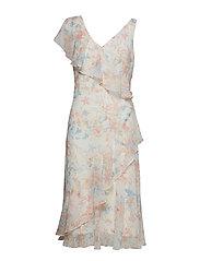 Floral Georgette Dress - COL CREAM/ORANGE/