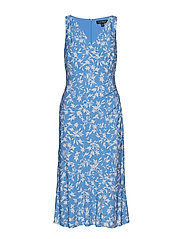 Floral Jersey Sleeveless Dress - BLUE MACAROON/COL