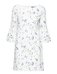 Floral Bell-Sleeve Dress - MASCARPONE CREAM/