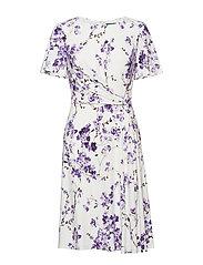 Knot Floral-Print Jersey Dress - COL CREAM/PURPLE/