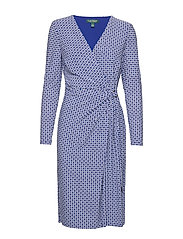 PRINTED MATTE JRSY-DRESS W/ TRIM - PARISIAN BLUE/COL
