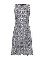 PRINTED TECH CREPE-DRESS - LIGHTHOUSE NAVY/C