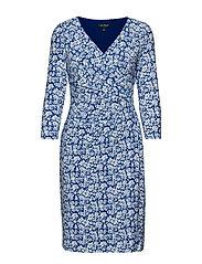 Print Surplice Jersey Dress - REGAL SAPPHIRE/CO