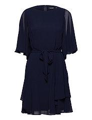 Ruffle-Sleeve Georgette Dress - LIGHTHOUSE NAVY