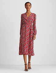 Lauren Ralph Lauren - Puff-Sleeve Georgette Dress - slå-om-kjoler - red/blue/multi - 0