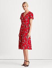 Lauren Ralph Lauren - Floral Crepe Dress - midi kjoler - orient red/lh nav - 0