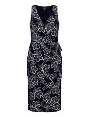 Floral Jersey Surplice Dress - LIGHTHOUSE NAVY/C
