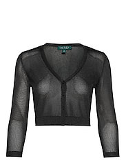 TRANSPARENT RAYON-CARDIGAN - BLACK/BLACK METAL