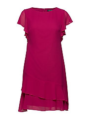 Georgette Boatneck Dress - BRIGHT FUCHSIA